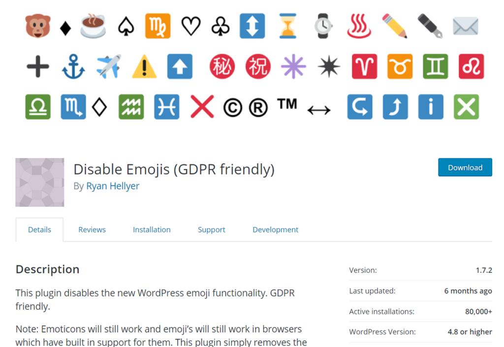 Disable Emoji WordPress